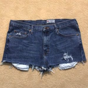 High Waisted Distressed Wrangler Jean Shorts 36""